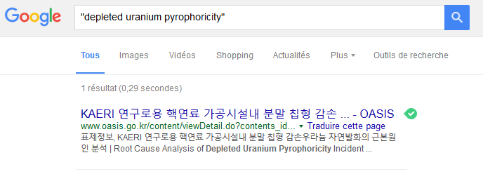 Depleted uranium pyrophoricity according to Google