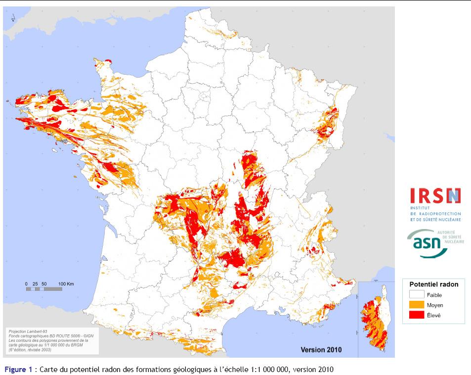Carte du potentiel radon des formations géologiques, version 2010