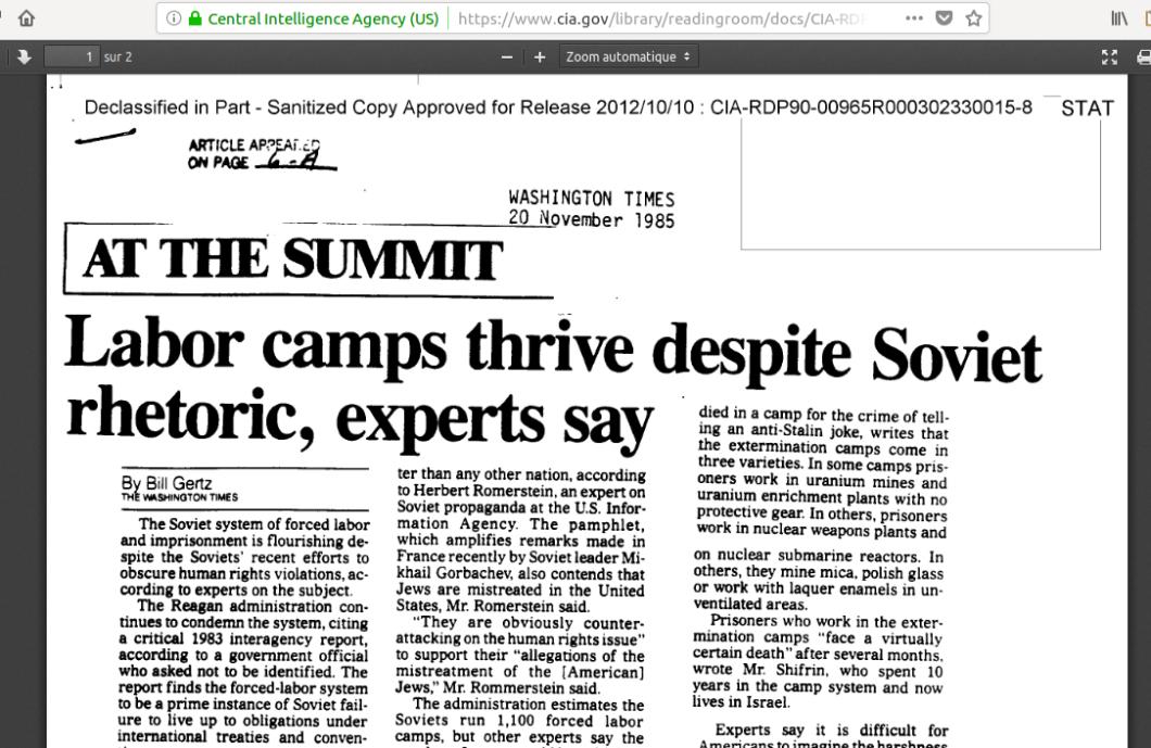 CIA knew uranium mines 20 nov 1985